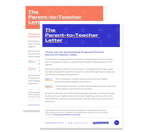 Parent to Teacher Letter from Prepared Parents